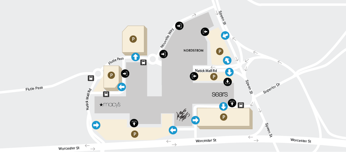 Natick Mall Map Parking Map and Information | Natick Mall Natick Mall Map